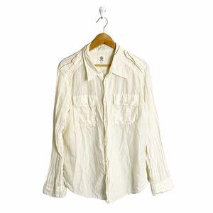 EVER ivory/cream silk cotton button down shirt L